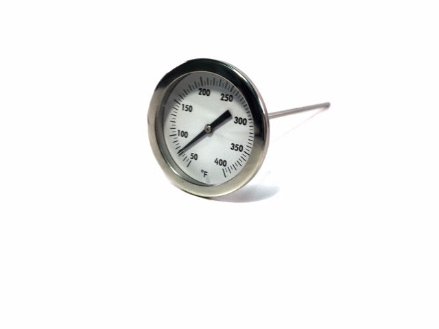 "8"" Stem Truck Sticker Thermometer, 2"" Glass Face, 50-400°F, Stainless Steel with Calibration Adjustment Nut"
