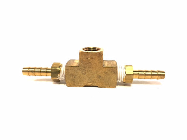 "3-Way Brass T-Fitting with 2-1/4"" Hose Barbs for Vacuum Gauge"