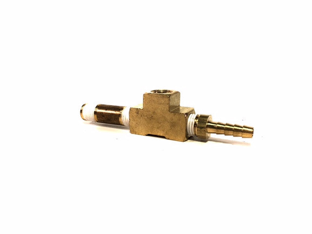 "3-Way Brass T-Fitting with 1/4"" Hose Barb for Vacuum Gauge"