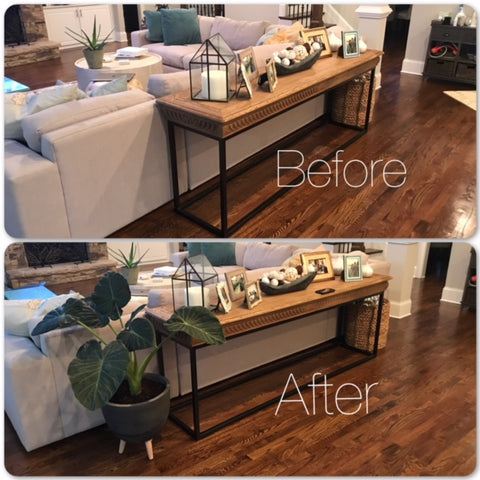 before and after home end table