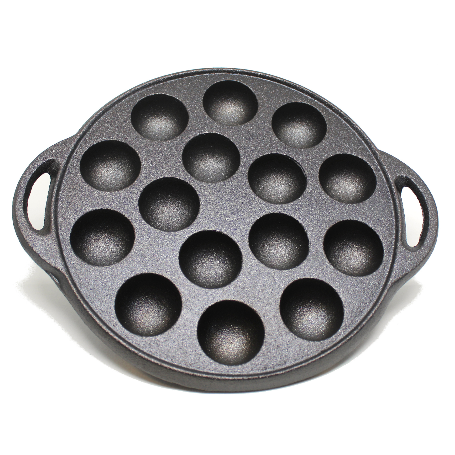 "Kasian House Cast Iron Griddle - 1.5"" Diameter Half Sphere Molds, Pre-Seasoned - Poffertjes, Pancake Balls, Takoyaki, Aebleskiver"