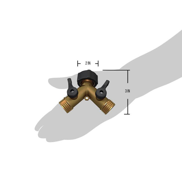 Kasian House Heavy Duty Solid Brass Garden Hose Splitter - Y Valve for Outdoor Spigots - 2 Extra Rubber Washers