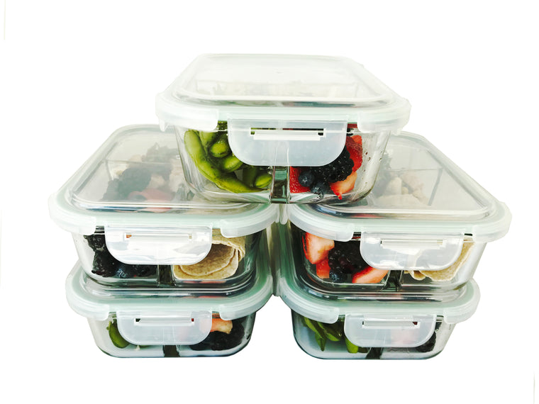 Glass Meal Prep Food Storage Container - 5 Pack