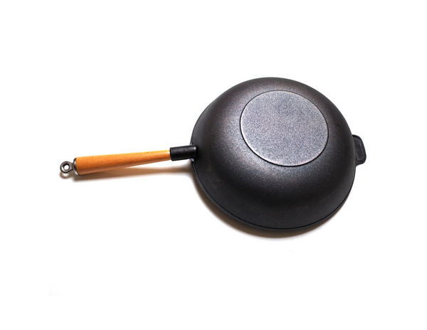 "Kasian House Cast Iron Wok with Wooden Handle and Lid, Pre-Seasoned, 12"" Diameter with Flat Bottom"