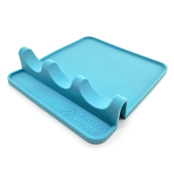 Silicone Utensil Rest by Kasian House - Extra Large Kitchen Spoon Rest with Drip Pad (Blue)