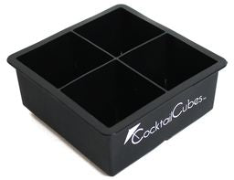 Cocktail Cubes - Extra Large Silicone Ice Cube Tray - 2.5 Inches - Black (1 Tray)