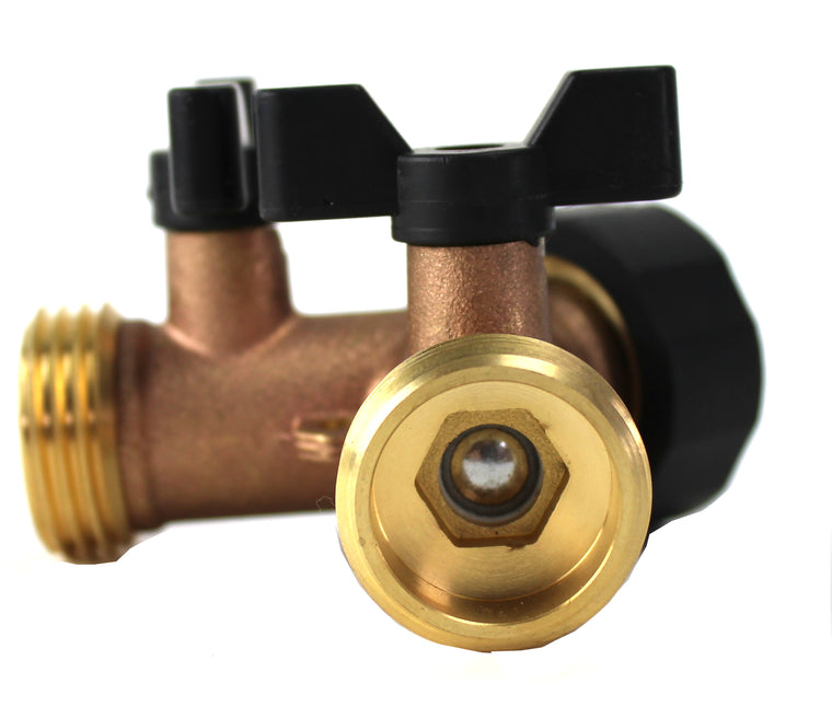 Kasian House Heavy Duty Brass Garden Hose Splitter - Y Valve for Outdoor Spigot - Large Comfort Handles, 2 Extra Rubber Washers