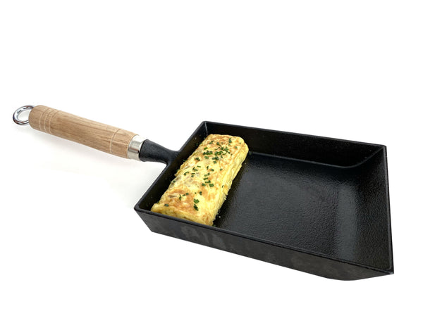 Kasian House Cast Iron Japanese Omelette Pan with Wooden Handle - Pre-Seasoned - Traditional Cast Iron Pan for Rolled Omelette, Tamagoyaki