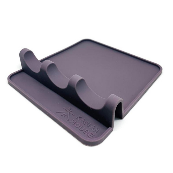 Silicone Utensil Rest by Kasian House - Extra Large Kitchen Spoon Rest with Drip Pad (Grey)