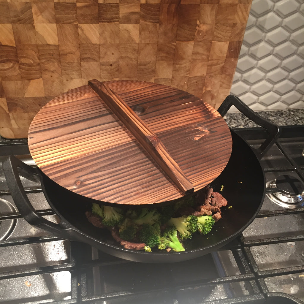 Cast Iron Wok With Wooden Lid Kasian House