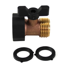Kasian House Heavy Duty Brass Garden Hose Connector with Shut Off Valve and Comfort Grip Handles - 2 Extra Washers
