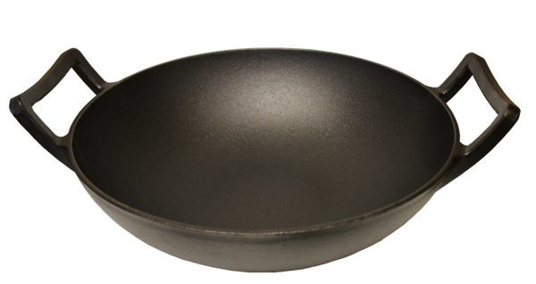 "Kasian House Cast Iron Wok, Pre-Seasoned with Wooden Lid 12"" Diameter and Large Handles"