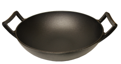 Cast Iron Wok with Wooden Lid