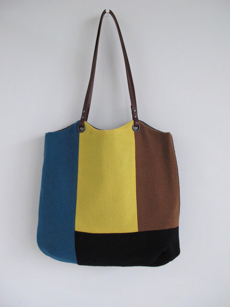 Patchwork Tote Bag - black, teal, caramel & lemon block