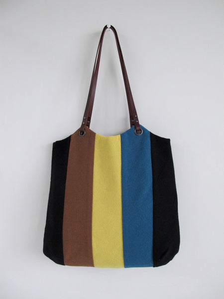 Patchwork Tote Bag - black, teal, caramel & lemon stripe