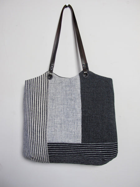 Patchwork Tote Bag - grey block I