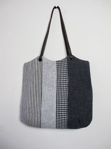 Patchwork Tote Bag - grey stripe I