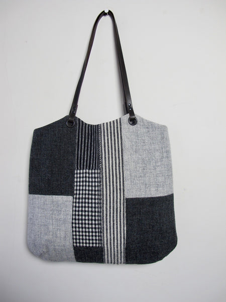 Patchwork Tote Bag - grey block II