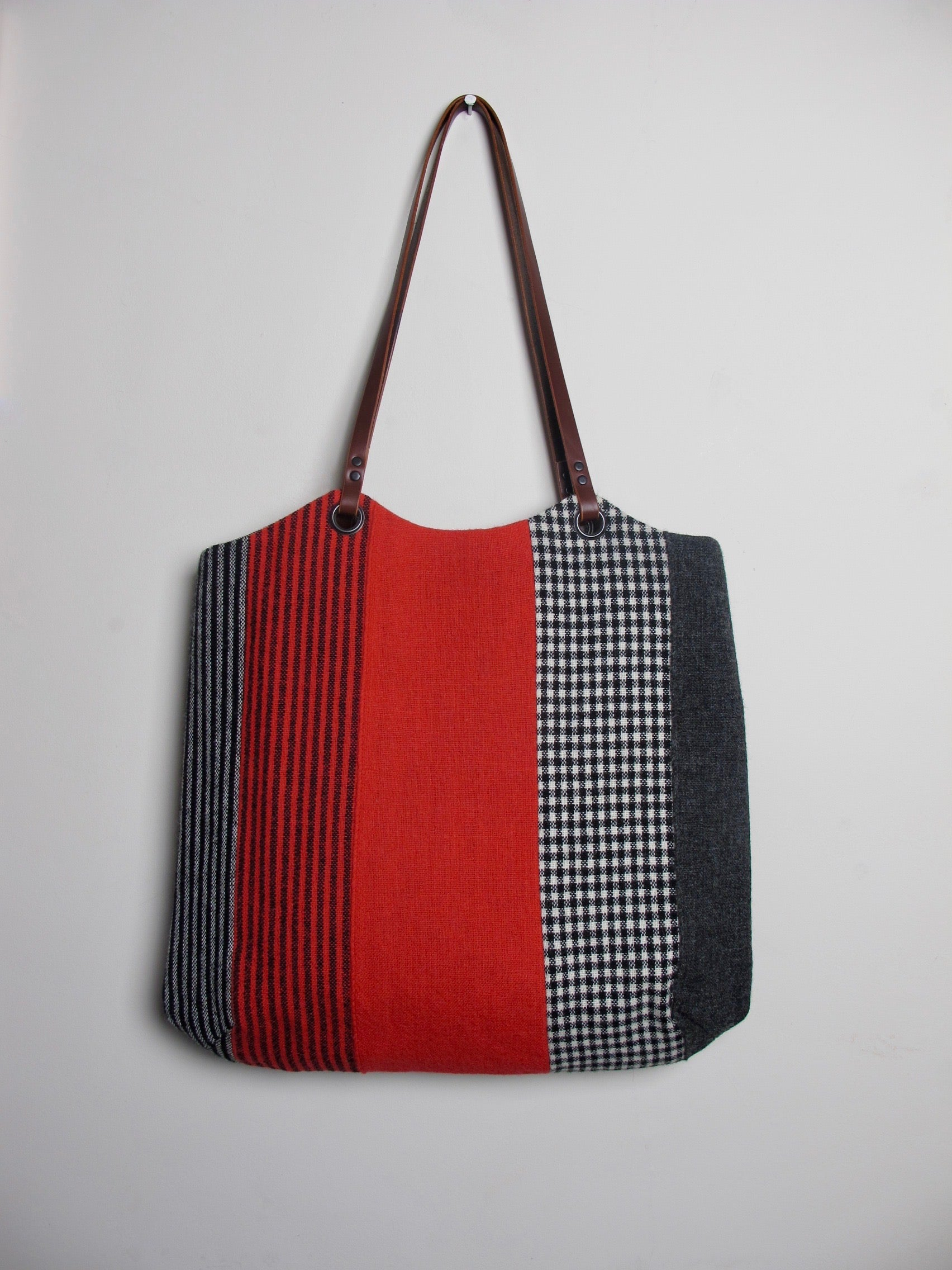 Patchwork Tote Bag - red stripe I
