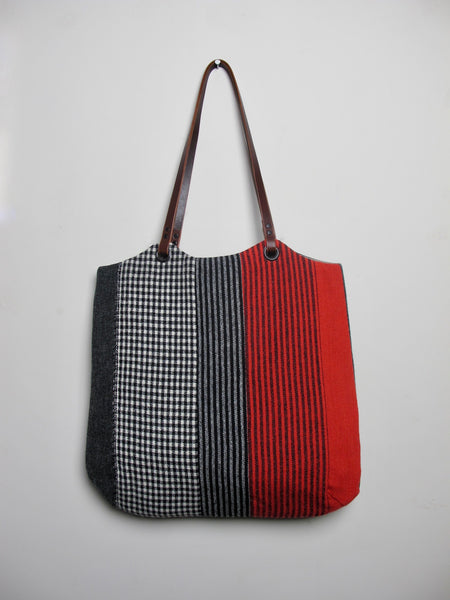 Patchwork Tote Bag - red stripe II
