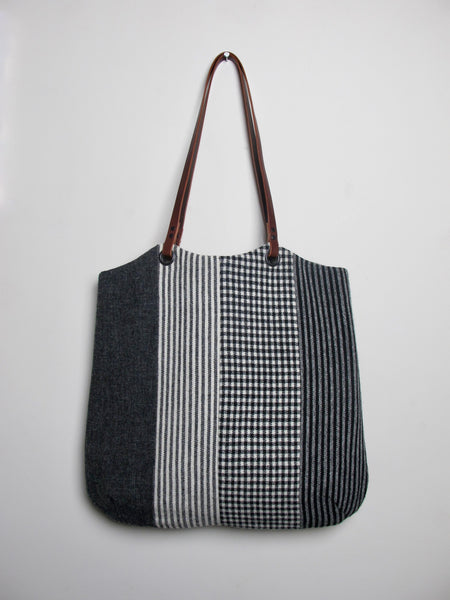 Patchwork Tote Bag - grey stripe II