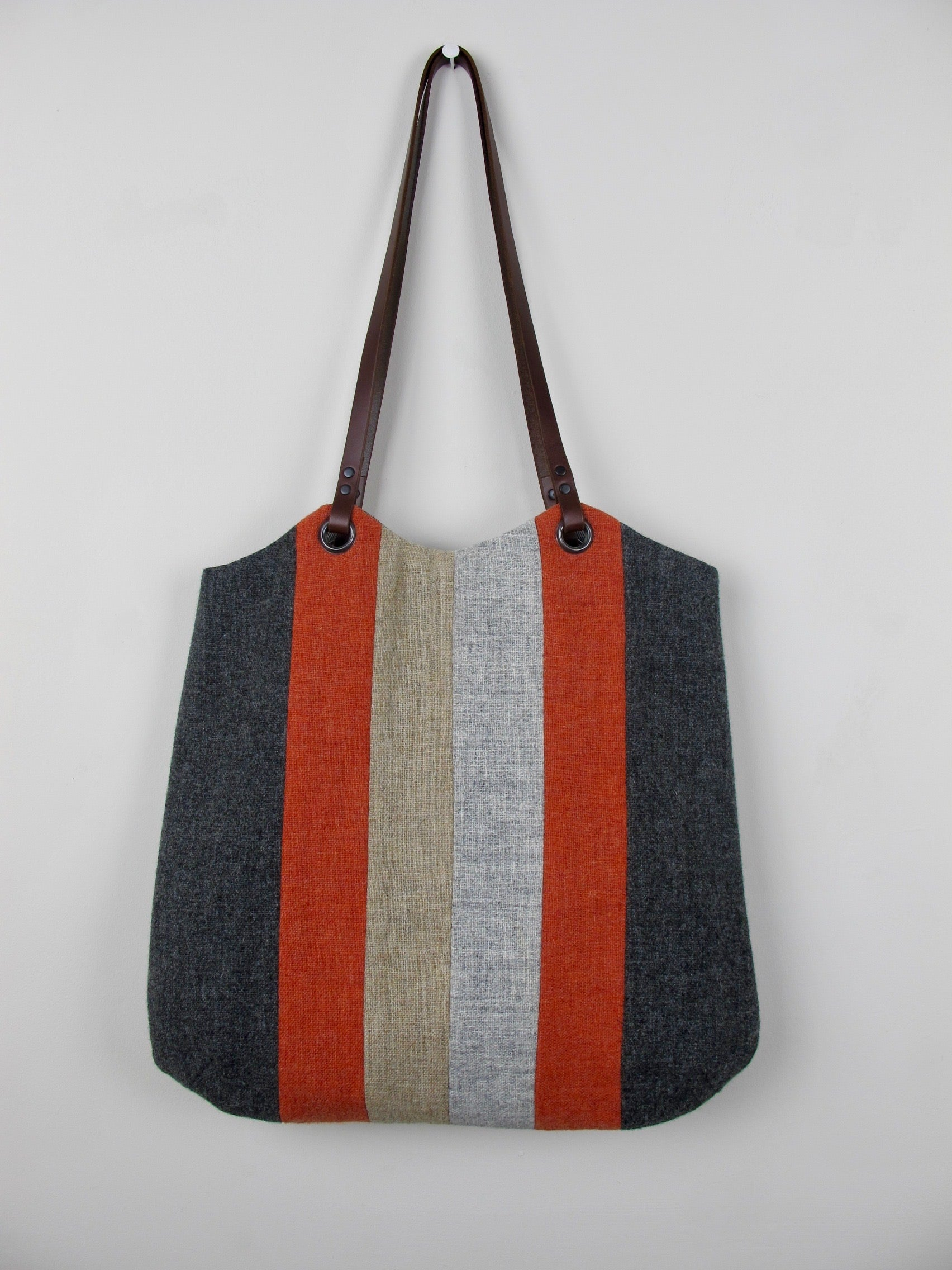 Patchwork Tote Bag - orange, straw, grey stripe I