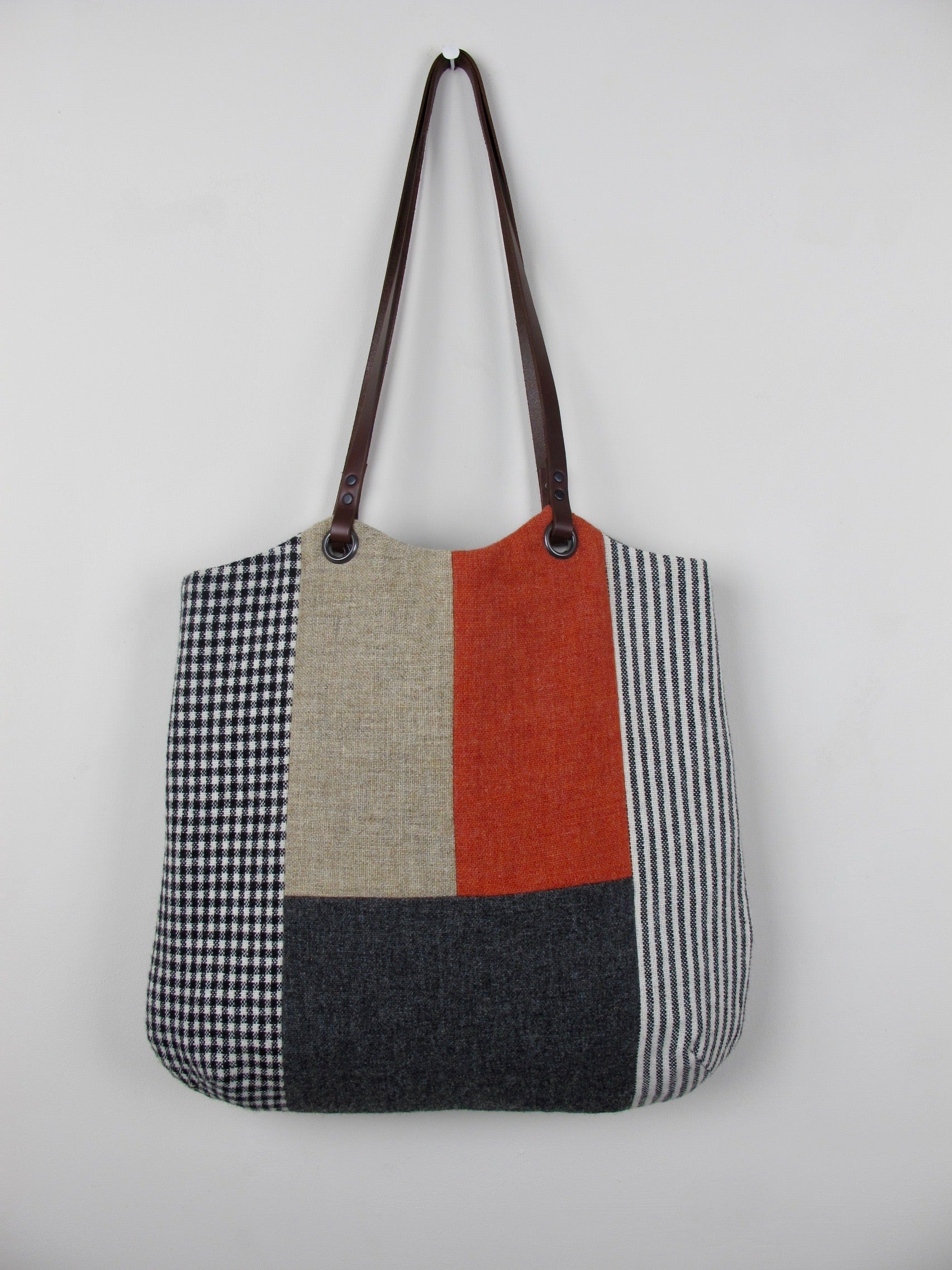 Patchwork Tote Bag - orange, straw, grey block I
