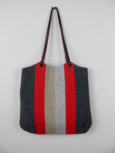 Patchwork Tote Bag - red, straw, grey stripe I