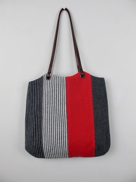 Patchwork Tote Bag - red stripe III