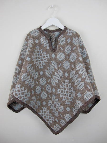 Vintage Blanche & Brown - Child Poncho