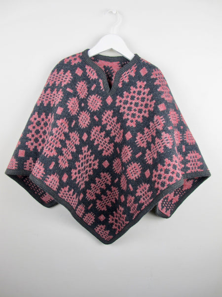 Graphite & Berry Red - Child Poncho