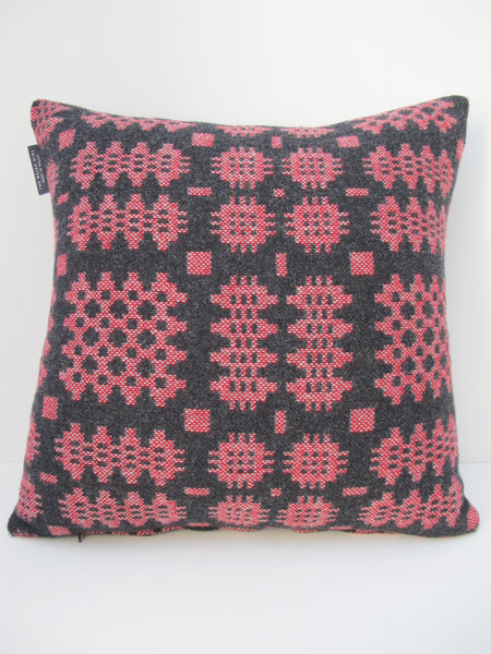 Graphite & Berry Red Tapestry Cushion - 18""