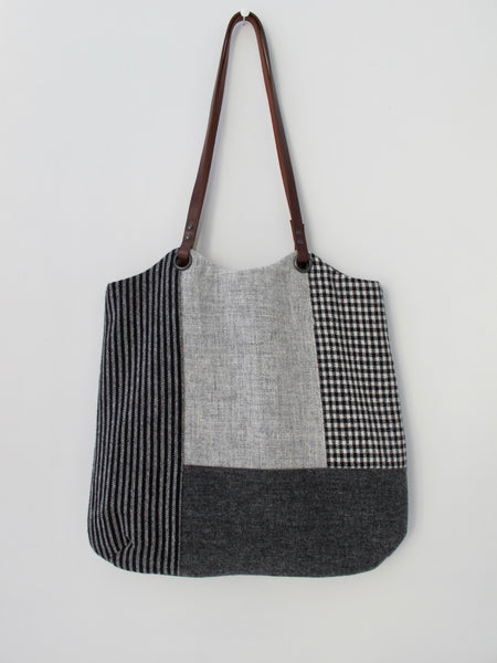 Patchwork Tote Bag - grey block III