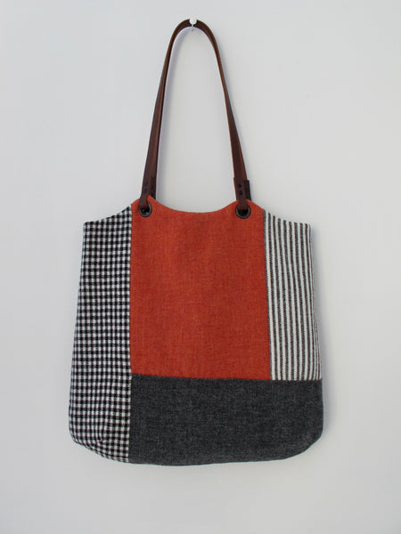 Patchwork Tote Bag - orange & grey block I