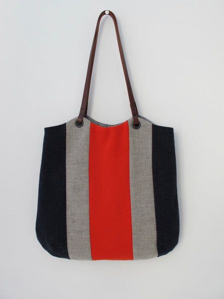 Patchwork Tote Bag - indigo, red & pebble stripe