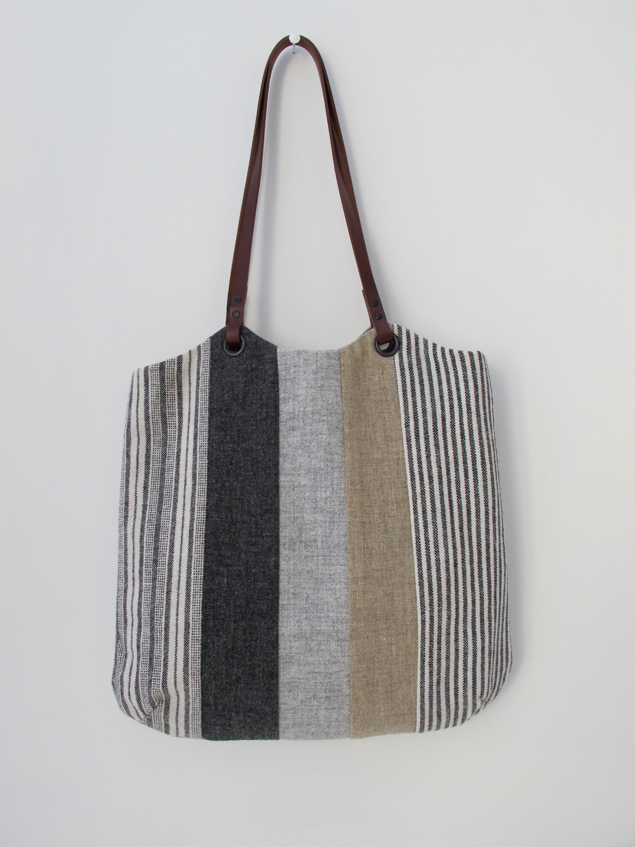 Patchwork Tote Bag - grey, straw & stripe