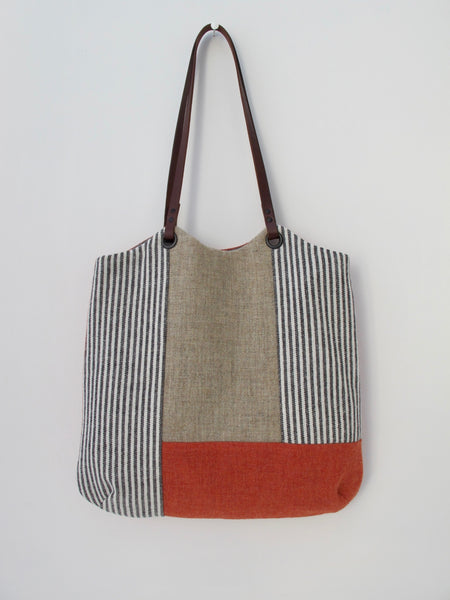 Patchwork Tote Bag - orange, straw & grey stripe