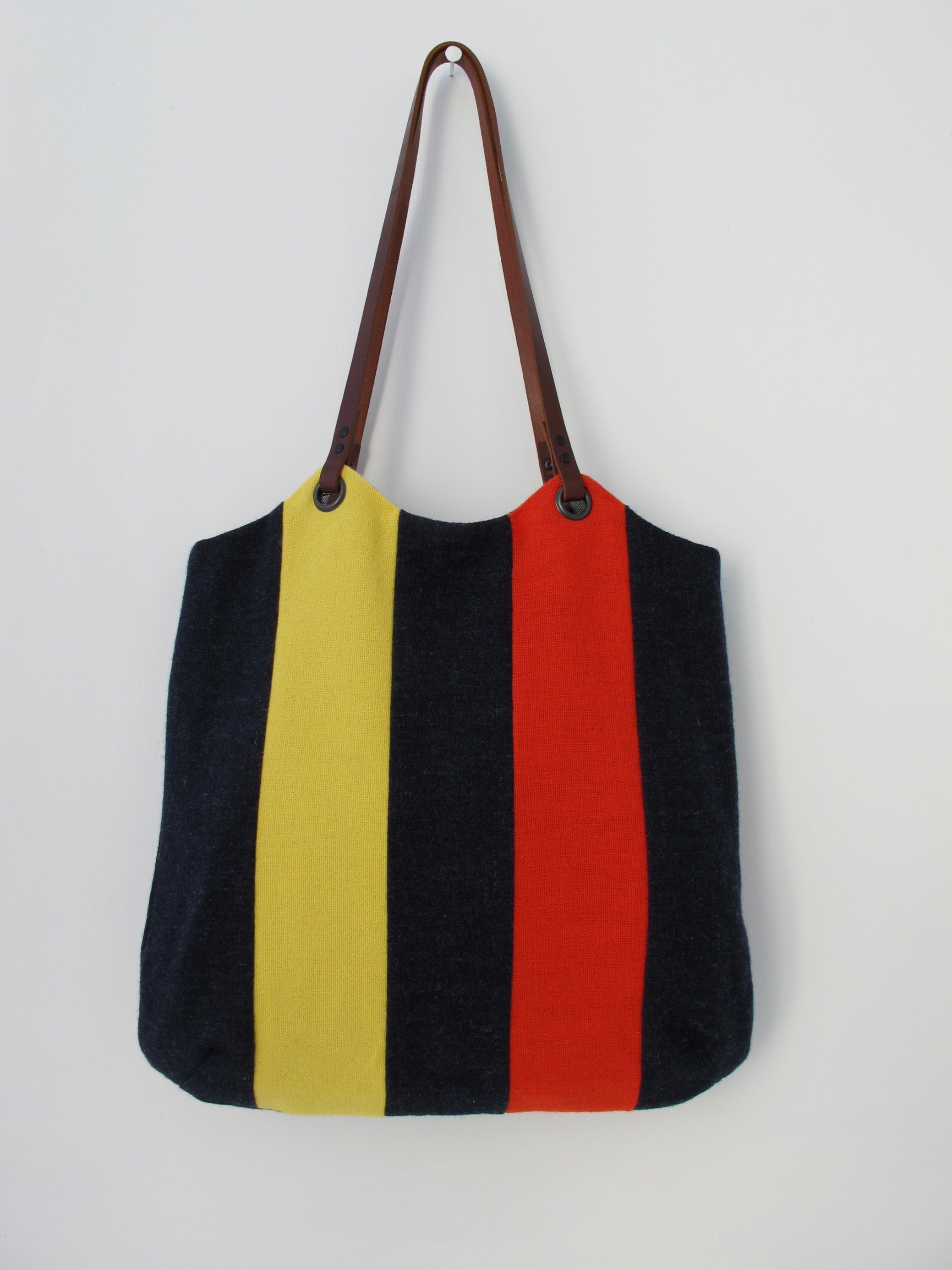 Patchwork Tote Bag - indigo, red & yellow stripe