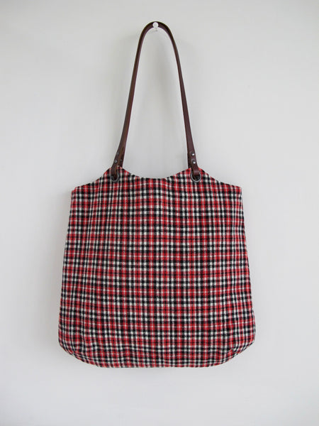 Tote Bag - red, black and cream check heritage