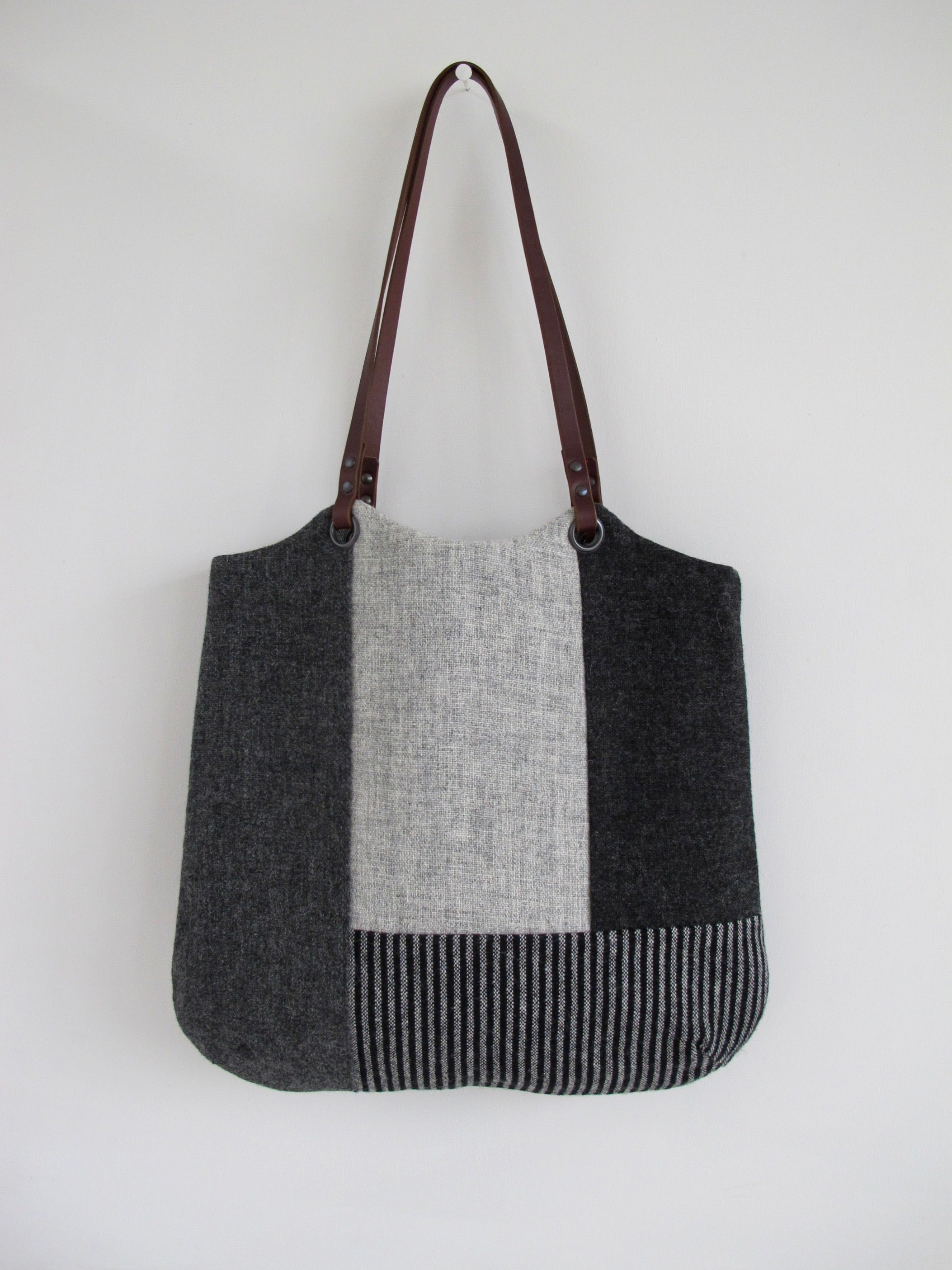 Patchwork Tote Bag - shades of grey block I