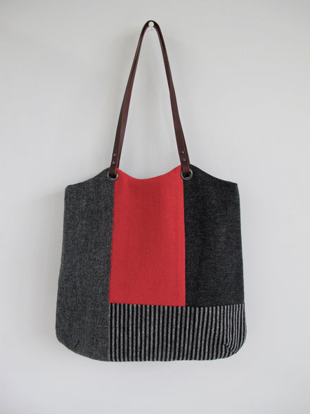 Patchwork Tote Bag - shades of grey, red and heritage stripe block I