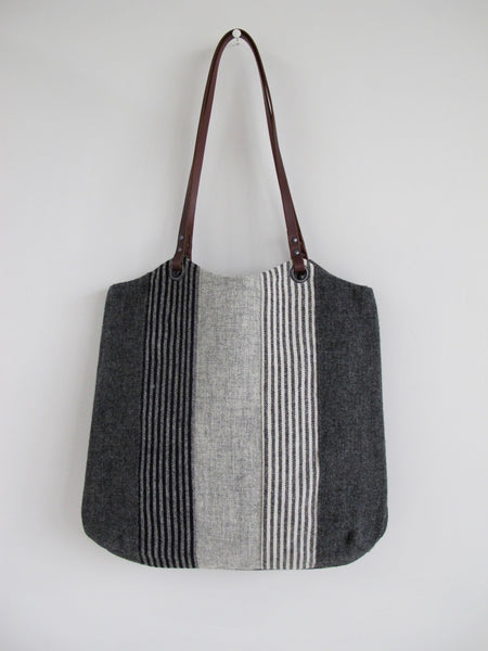 Patchwork Tote Bag - shades of grey stripe I