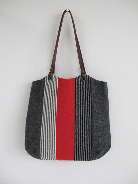 Patchwork Tote Bag - charcoal grey, red and heritage stripes I