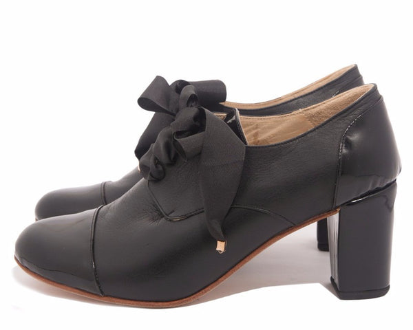 Black Leather Oxford Shoes in High Heel Black Patent