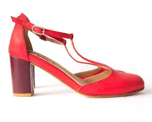 Sakura Marsala - Sandal in red and soft pink leather