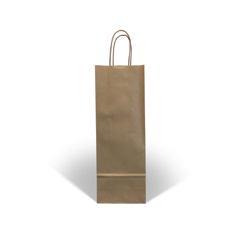 Brown Kraft Twist Handle Paper Wine Bottle Bags - Robins Packaging