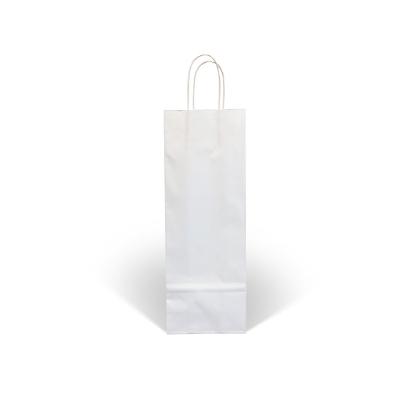 White Kraft Twist Handle Paper Wine Bottle Bags