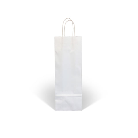 White Kraft Twist Handle Paper Wine Bottle Bags - Robins Packaging