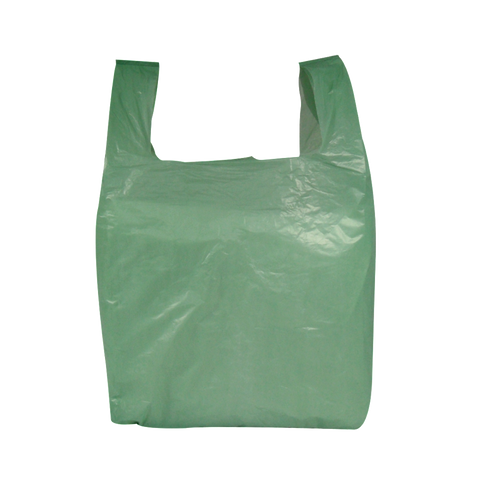 Green Vest Style Plastic Carrier Bags