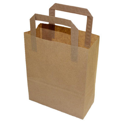 Brown Kraft Flat Handle Paper Bags - Robins Packaging